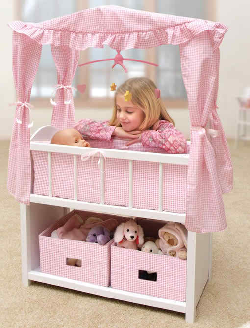 Badger Basket Canopy Doll Crib With Baskets Bedding