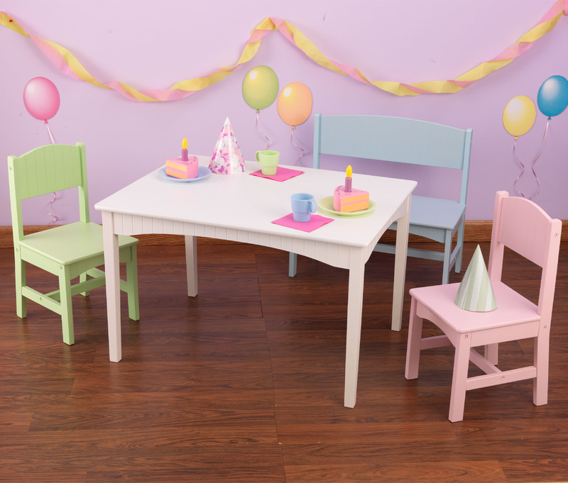 Kidkraft Nantucket Table With Bench And 2 Chairs Pastel China Table Am