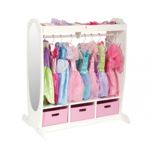 Guidecraft Dress-Up Storage Center - White: upper & lower storage, fabric bins included, sturdy wooden dowel, laminated construction (G98098)