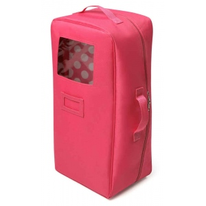 Badger Basket Doll Travel Case with Bed and Bedding: Dark Pink