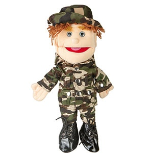 Sunny Toys Boy: Brunette, Army Uniform, 14""