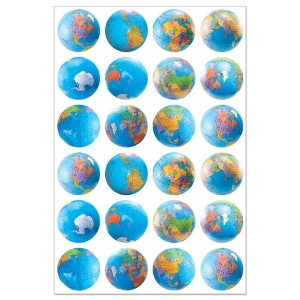 Hygloss Globe Stickers: 20 Sheets
